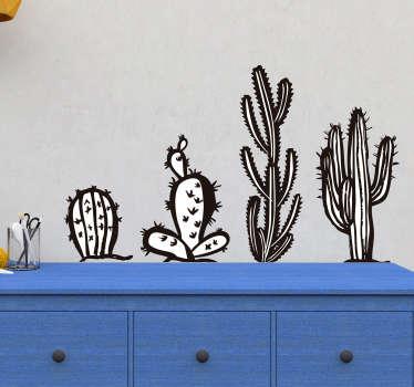 Muurstickers planten Zwart witte cactussen