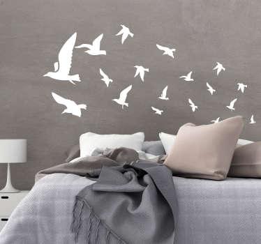 Decorazione adesiva testiera letto uccellini