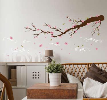 Muursticker boom Tak met roze bloemen in de wind