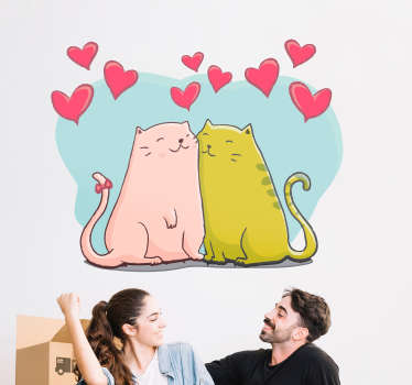 Cats and Hearts Wall sticker