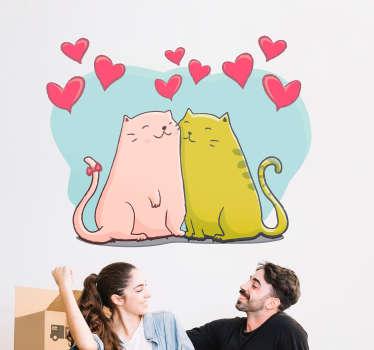 Sticker Maison Chats et Coeurs