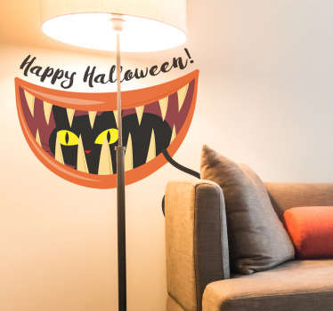 Halloween sticker zwarte kat