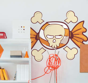 Add a skull and crossbones to the wall of your home with this fantastic, Halloween inspired wall art decal! Easy to apply.
