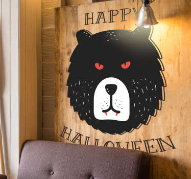 Grizzly Bear Happy Halloween Sticker