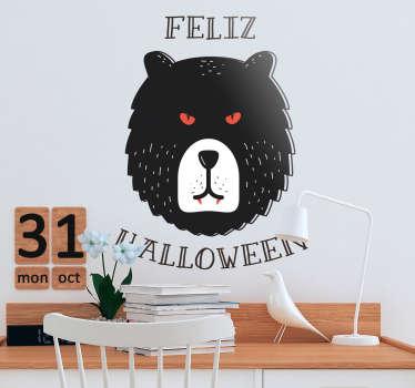 """Vinilo animal de terror, oso con colmillos a lo Drácula y el texto """"feliz Halloween"""" alrededor. Aprovecha nuestros fantásticos descuentos para nuevos usuarios"""