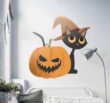 Naklejka na ścianę Halloween: czarny kot i dynia