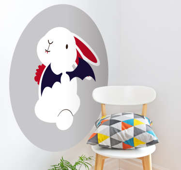 A brilliantly funny wall sticker showing a bunny dressed for Halloween! Perfect cute Halloween decor for your party. Easy to apply.