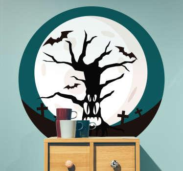 Naklejka Halloween: przerażające drzewo