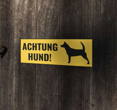 An iconic door decal to place on door or garage space to warn for dog attention. Easy to apply and adhesive and available in any required size.