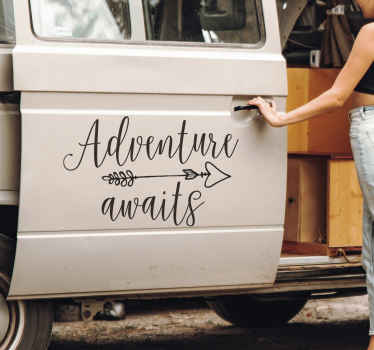 Adventure Awaits Calligraphy Car Sticker