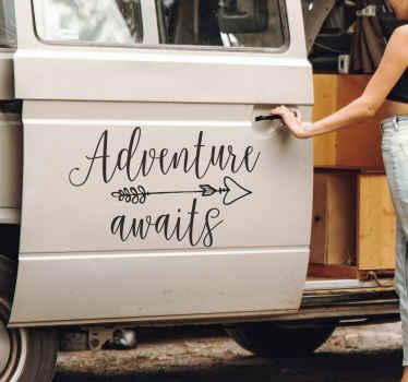 Adventure Awaits Calligraphy Car Sticker
