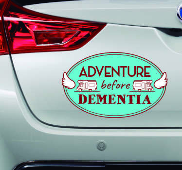 Decorative car vinyl sticker designed with adventure text and caravan images. Flag it on your car to express your love for travel.