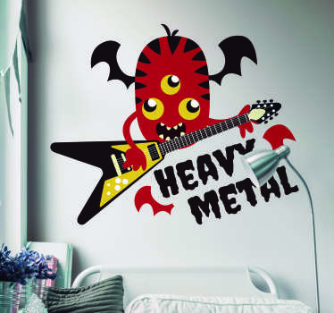 Rock on with this great music wall sticker! Depicting a 3 eyed monster having the time of his life playing the electric guitar!