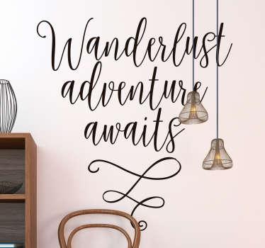 Tekst muursticker wanderlust adventure awaits