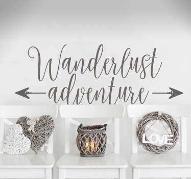"""""""wanderlust seikkailu"""" olohuoneen seinän sisustus"""