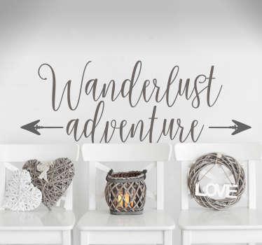 Text Aufkleber Wanderlust Adventure