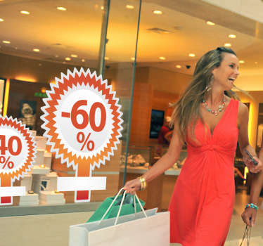 Business Stickers - Use this to present your irresistable promotion up to 65%!Ideal for retail stores and businesses.