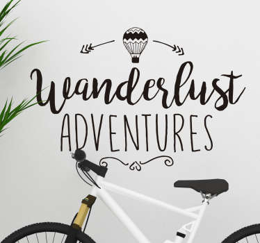Text Aufkleber Wanderlust Adventures Heißluftballon