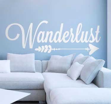 Adesivo murale camera da letto freccia Wanderlust