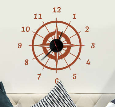 Kompass vegg klokke klistremerke