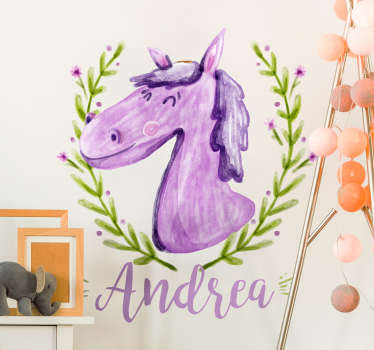 Kinderkamer muursticker paard gepersonaliseerd