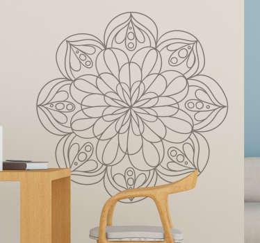 Adesivo murale camera da letto mandala fiore