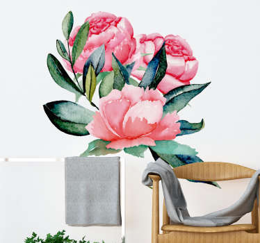Naklejka na ścianę różowe piwonie