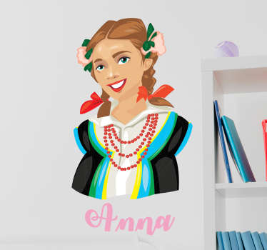A pretty wall art decal of a typical Poland lady in outfit costume with name personalisation. Easy to apply and available in any size.