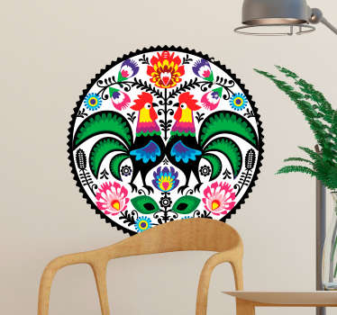 Decorative Polish embroidered farm animal with flower wall sticker. Easy to apply and available in any size you want. An adhesive and durable design.
