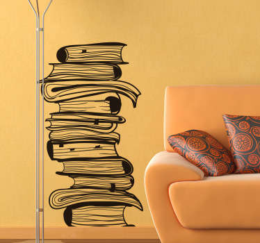 Books wall sticker showing a pile of books stacked on top of each other, great for creating the perfect atmosphere for reading. Use this stack of books wall decal to show off your love of reading in any room in your home or library!