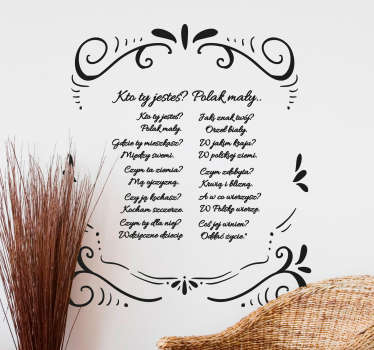 Popular saying wall decal featured with ''who are you text rhyme'. It is available in any size you want and it comes in different colour options.