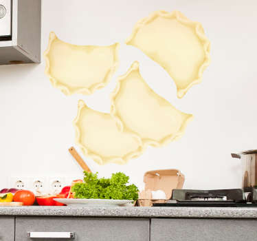 Polish ravioli food wall sticker to decorate a kitchen space. You can buy it in any desired size and it is easy to apply on flat surface.