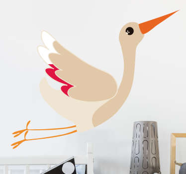 A beautiful wall decal depicting a magnificent stork in full flight. Available in a variety of sizes, it is easy to apply and extremely long-lasting.