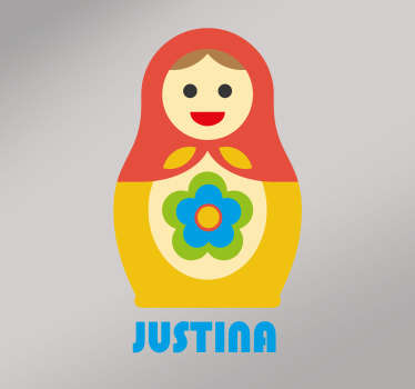 Decorative Matryoshka toy wall sticker with name personalisation . Available in any desired size and easy to apply. Adhesive and durable.