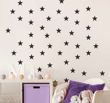 A sheet of star wall stickers  A collection of identical star stickers, available to be arranged on your wall any way you please!