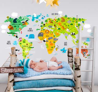 Decorative illustrative world map wall sticker with features of animals, vegetation and marine life. Easy to apply and adhesive.