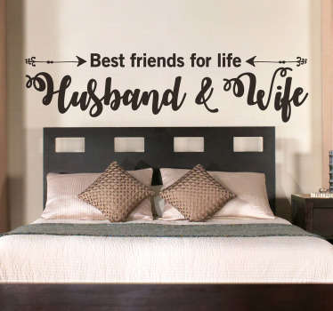 """""""parhaat ystävät - aviomies ja vaimo"""" makuuhuoneen seinätarra"""