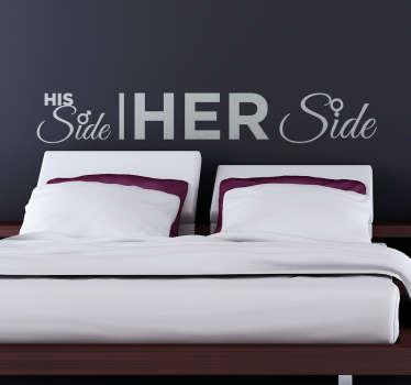 """Naklejka na ścianę do sypialni """"His side. Her side"""""""