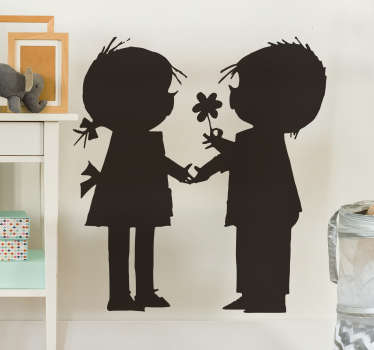 Decorative cartoon silhouette wall sticker design of Jip on Janneke silhouettes kids character book series. Easy to apply and adhesive.