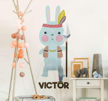 Kinderkamer muursticker Indiase konijn gepersonaliseerd