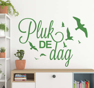 Motivational quote wall sticker featured with flying birds and text quote about '' taking advantage of the day''. Available in different colours.