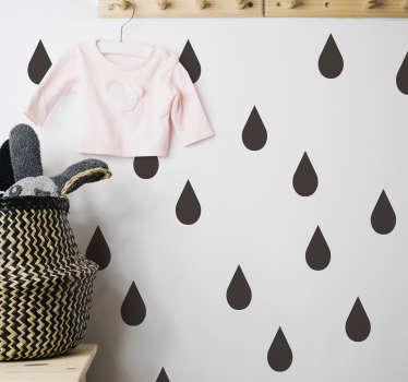 Regndråper stue vegg innredning
