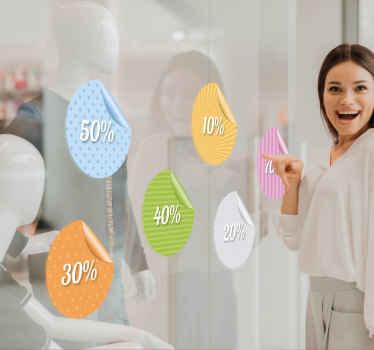 Zestaw kolorowych naklejek obniżki cen