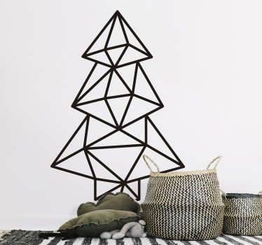 Vinilo pared abeto navidad geométrico