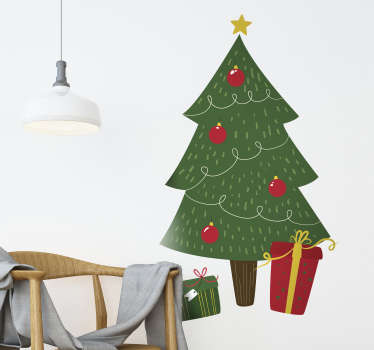 Sticker Noël Sapin Décoré avec Cadeaux