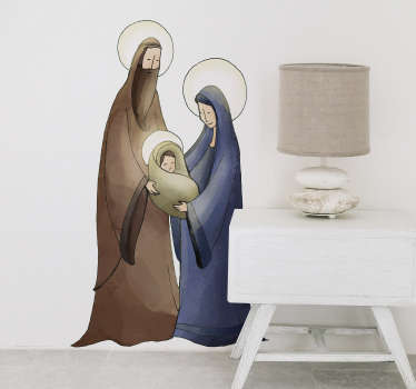 Mary, Joseph and Baby Jesus are depicted in this magnificent wall mural sticker! Ideal for a more religious aspect on Christmas! Anti-bubble vinyl.