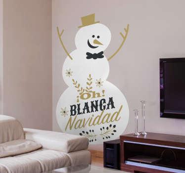 Vinilo decorativo Navidad de un muñeco de nieve divertido y la letra de un popular villancico. Más de 10.000 clientes satisfechos con nuestros productos