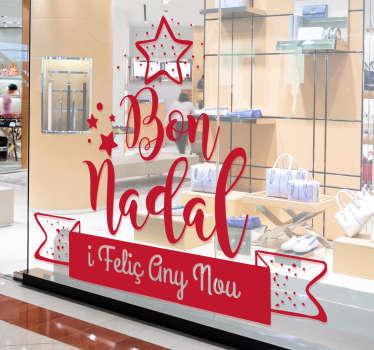 Vinilo para escaparate tienda con texto navideño en catalán, ideal también para ambienta tu casa si lo deseas. Compra Online Segura y Garantizada