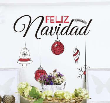Vinilo pared feliz navidad
