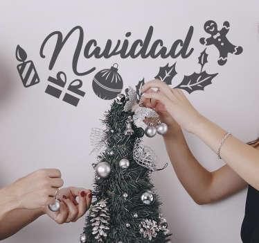 Vinilo pared frase Navidad con dibujos